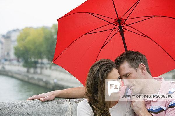 Junges Paar mit Regenschirm sitzt auf Steinbank an der Seine  Paris  Frankreich