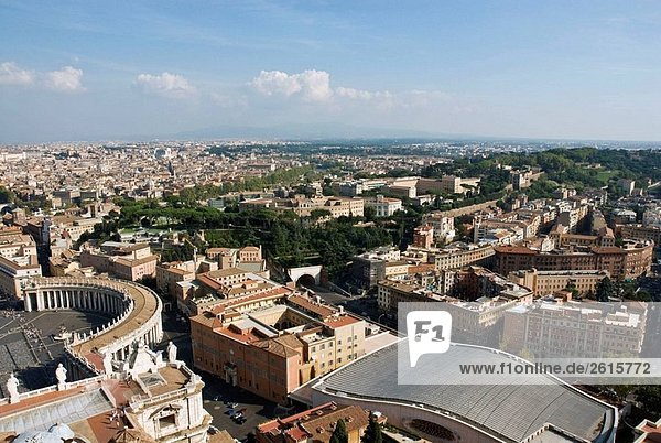 View of the city of Rome from the dome of Saint Peter´s Basilica The Vatican  Rome  Lazio  Italy