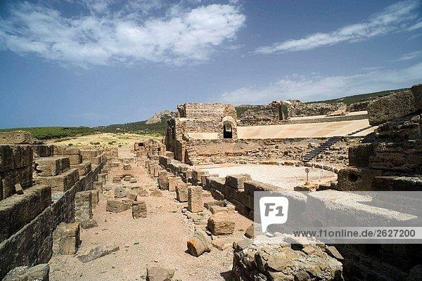 Roman theater  ruins of old roman city of Baelo Claudia  Tarifa. Cadiz province  Andalucia  Spain