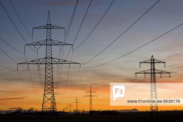 Germany,  Bavaria,  Pylons at sunset