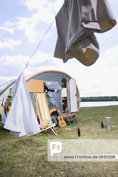 Germany  Leipzig  Ammelshainer See  Camping Trailer