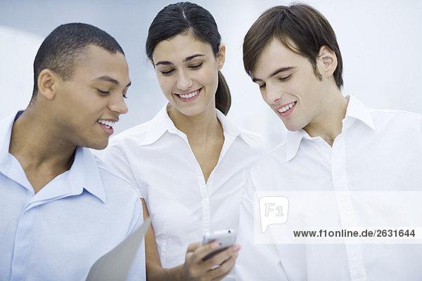 Drei junge Profis  die gemeinsam das Handy anschauen  lächelnd