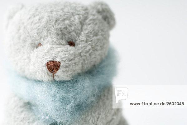 Teddy bear wearing scarf  close-up