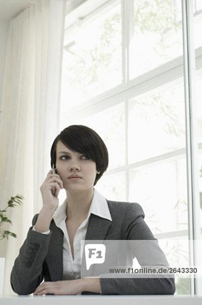 Portrait einer jungen Frau an Schreibtisch sitzen und sprechen auf Handy