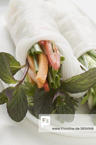 Reispapierröllchen mit Gemüse  Glasnudeln und Kräutern