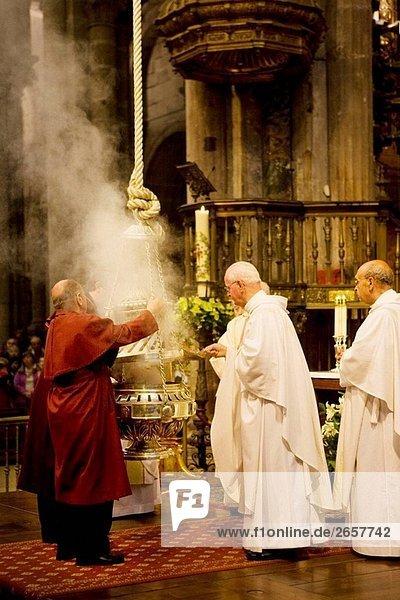 ´Botafumeiro´ berühmten Weihrauchfass gefunden in der Kathedrale Santiago De Compostela. La Coruña Provinz  Galicien  Spanien
