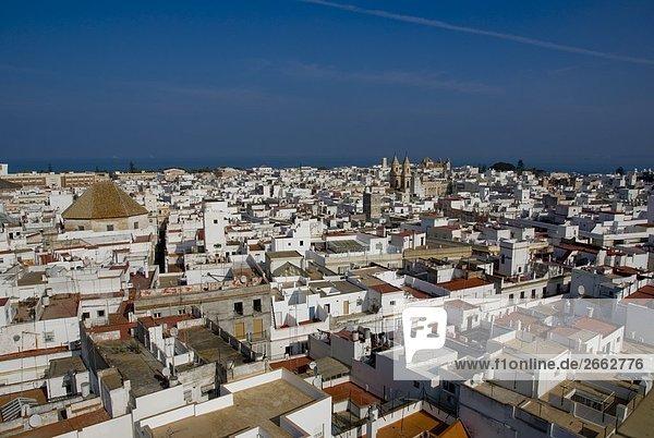 High angle view of cityscape  Costa de la Luz  Cadiz  Andalusia  Spain