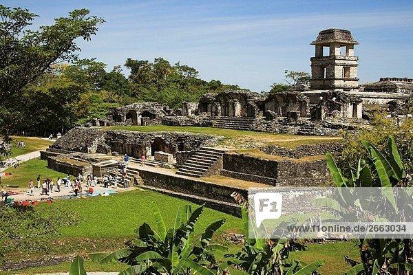 El Palacio  der Palast  Palenque Ausgrabungsstätte  Palenque  Bundesstaat Chiapas  Mexiko