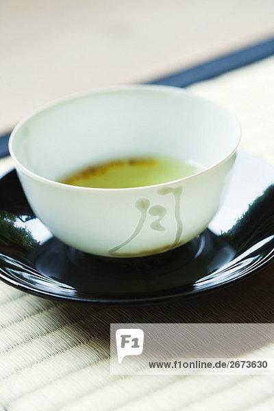Tasse grünen Tee  Nahaufnahme