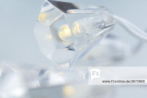 Crystal geformt Weihnachtsbeleuchtung  extreme Nahaufnahme