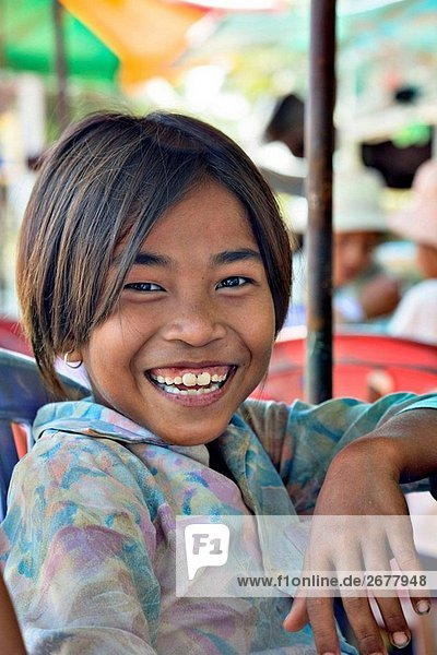 Happy  young Cambodian girl  Kompong Thom  Cambodia