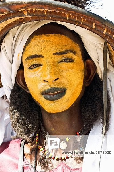 Young Bororo man at Gerewol festival  the most important traditional meeting for Bororo people  Niger