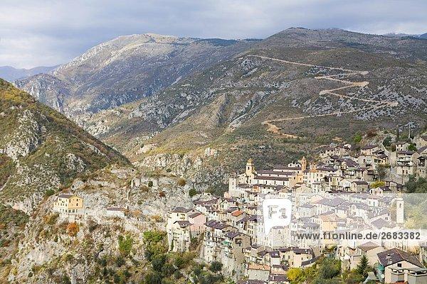Frankreich Gebäude Dorf Ansicht Provence - Alpes-Cote d Azur Luftbild Fernsehantenne