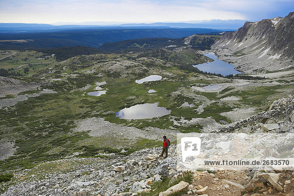 Blick nach unten aus Medizin Bow Mountain  Wyoming