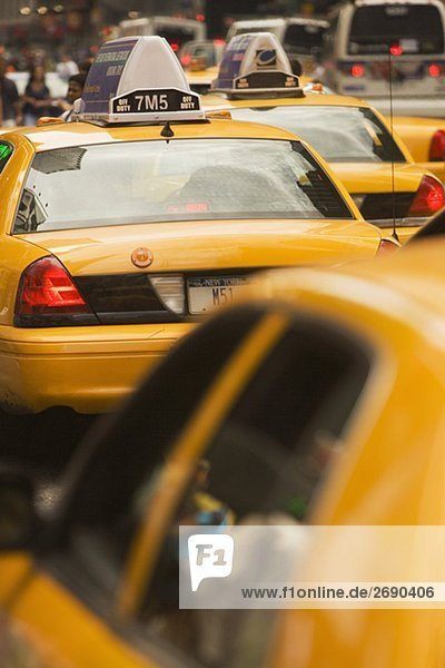 Close-up of taxis  New York City  New York State  USA