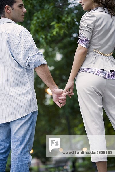 Rear view of a young couple holding hands of each other