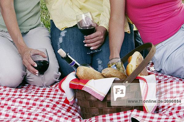 Mitte Schnittansicht von zwei Frauen halten Gläser Rotwein mit einer anderen Frau neben ihr