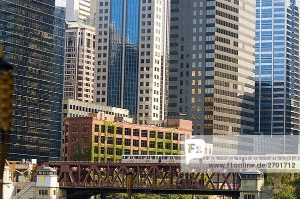 Zug über eine Brücke  Chicago  Illinois  USA