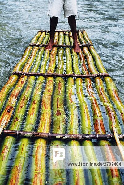 Einem Bambusfloß ist gesehen schwimmende hinunter die Martha Brae River  Jamaika