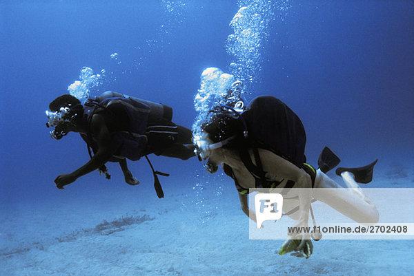 Taucher werden unter Wasser in Jamaika gesehen.