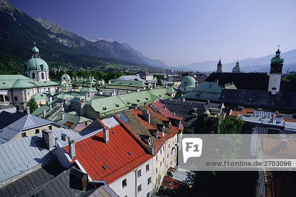 High angle view of buildings in a city  Innsbruck  Austria