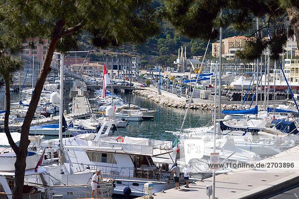 Kreuzfahrtschiff und Boote angedockt an einen Hafen  Monte Carlo  Monaco