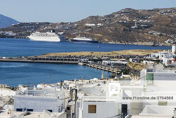 Buildings on the coast  Mykonos  Cyclades Islands  Greece
