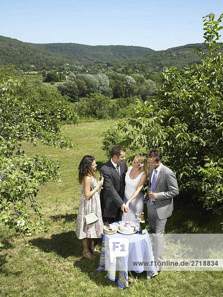Hochzeitspaar beim Kuchenschneiden im Garten
