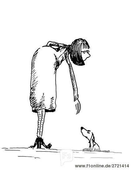 Illustration  Frau und Dackel