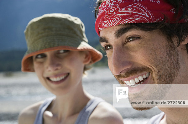Germany  Bavaria  Young couple smiling  portrait