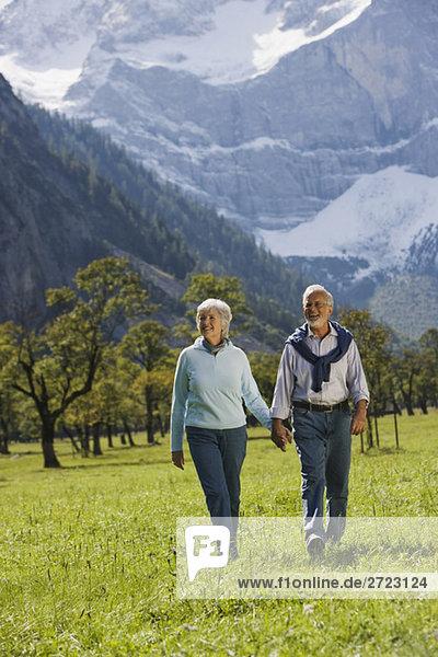 Österreich  Ahornboden  Seniorenpaar geht über die Wiese  Hand in Hand