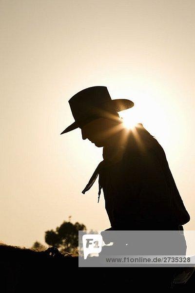 Silhouette eines Cowboys auf einem Pferd sitzend Silhouette eines Cowboys auf einem Pferd sitzend