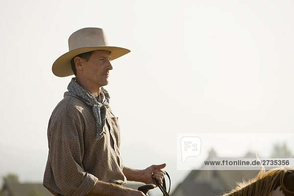 Ein Cowboy auf einem Pferd Ein Cowboy auf einem Pferd