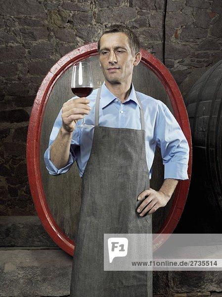 Ein Winzer studiert Rotwein im Glas