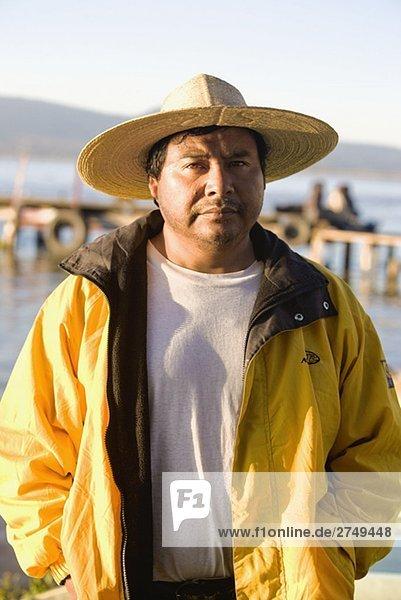 Porträt von ein älterer Mann  Lake Patzcuaro  Patzcuaro  Bundesstaat Michoacán  Mexiko