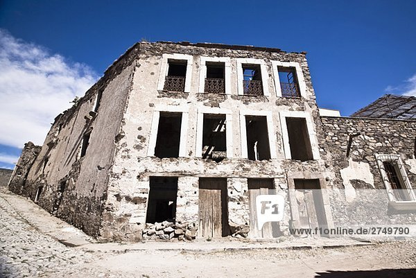Low angle view of old ruins of a building, Real De Catorce, San Luis Potosi, Mexico