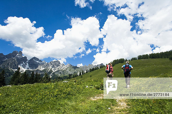 reifes Paar Wandern in den Bergen