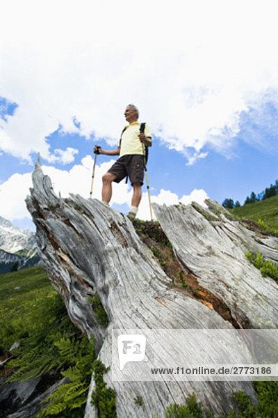 niedrig stehend Berg Mann reifer Erwachsene reife Erwachsene Ansicht Flachwinkelansicht Winkel