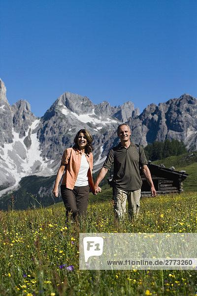 reifes Paar gehen Hand in Hand in den Bergen