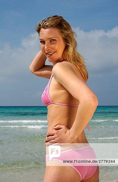 Woman wearing bikini on the beach