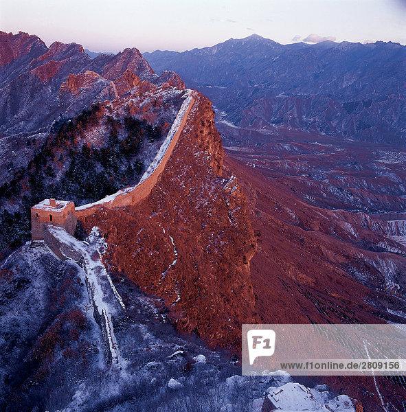 China  Peking  Schneespitze Great Wall Of china