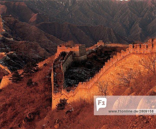 Vogelperspektive Schuss der großen Mauer  Beijing