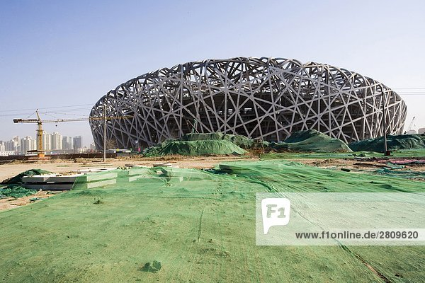 China  Peking  National Stadium im Bau