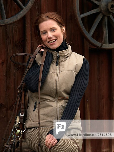 Eine Frau verrückt nach Pferde Schweden.