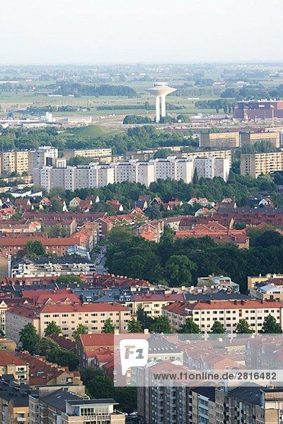 Luftbild von einer Stadt Schweden.