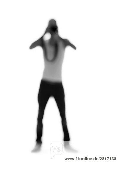 Silhouette Mensch halten