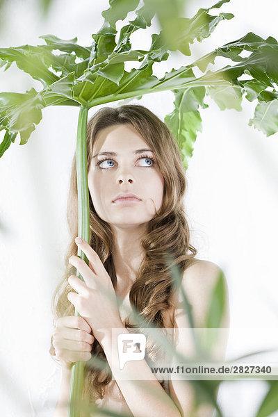 Portrait of junge Frau hält plant