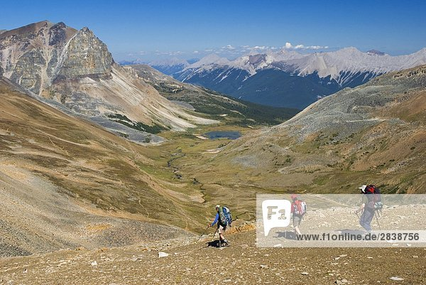 Wanderer Decsending aus dem Grat entlang der Skyline Trail  Jasper-Nationalpark in Alberta  Kanada.