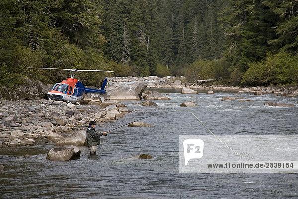 Heli-fishing on remote river  British Columbia  British Columbia  Canada.