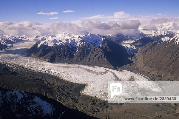 Aerial of Glacier and mountains  Kluane National Park  Yukon  Canada.